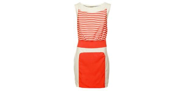 Dámske oranžovo-biele šaty Lucy Paris s prúžkami