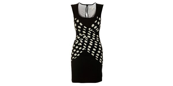 Dámske čierne šaty Lucy Paris s bielymi bodkami