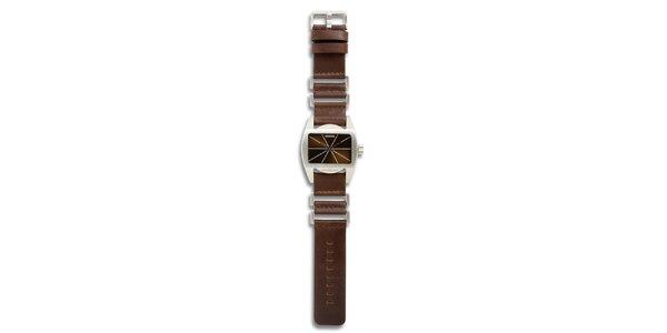 Dámske oceľové hodinky s hnedým koženým remienkom 666 Barcelona