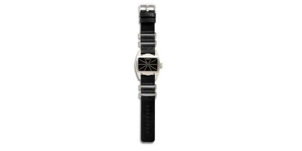 Dámske oceľové hodinky s čiernym koženým remienkom 666 Barcelona