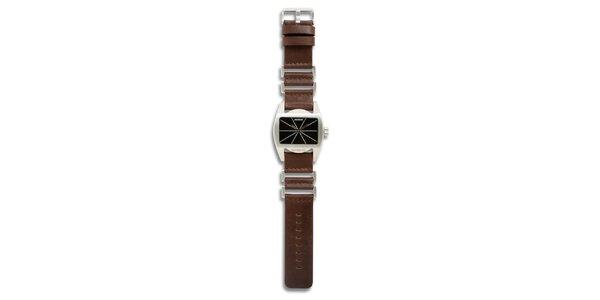 Dámske oceľové hodinky s hnedým koženým remienkom a čiernym ciferníkom 666…