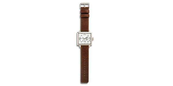 Dámske oceľové hodinky s hnedým koženým remienkom a bielym analógovým…