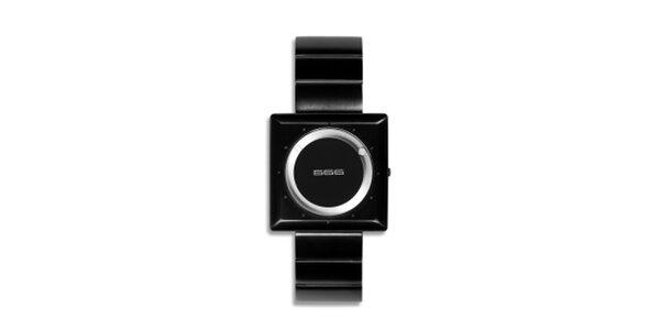 Čierne analógové hodinky so strieborným ciferníkom 666 Barcelona