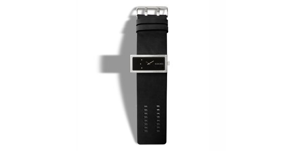 Čierne analógové hodinky s tromi kamienkami 666 Barcelona