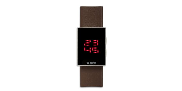 Čierne hranaté digitálne hodinky 666 Barcelona s hnedým remienkom