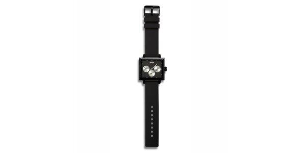 Futuristické čierne hodinky so striebornými zónami 666 Barcelona