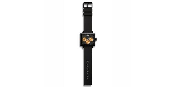 Futuristické čierne hodinky s oranžovými zónami 666 Barcelona