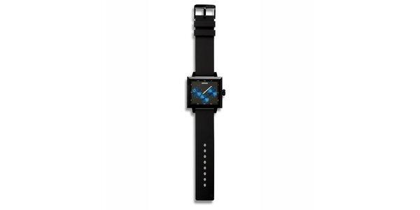 Futuristické čierne štvorcové hodinky 666 Barcelona