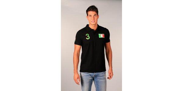 Pánske čierne polo tričko s trojkou TH