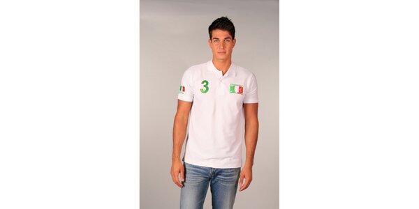 Pánske biele polo tričko s trojkou TH