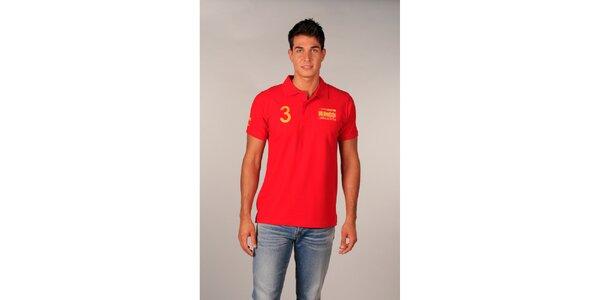 Pánske červené polo tričko s trojkou TH