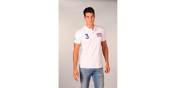 Pánske biele polo tričko s americkou vlajkou TH