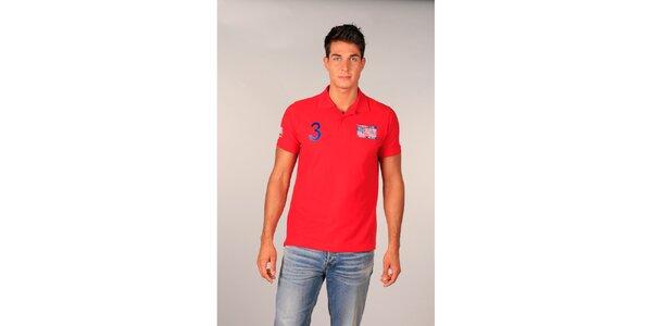 Pánske červené polo tričko s americkou vlajkou TH