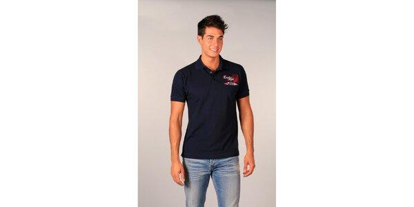 Pánske tmavo modré polo tričko s nápismi TH
