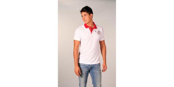 Pánske biele polo tričko s červeným límčekom TH