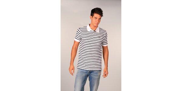 Pánske biele pruhované polo tričko značky TH