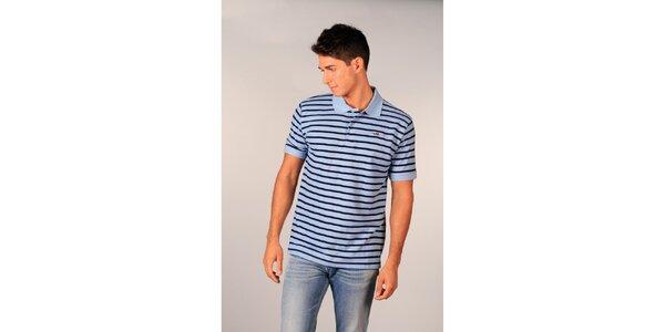 Pánske svetlo modré pruhované polo tričko značky TH