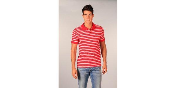 Pánske červeno-biele pruhované polo tričko značky TH