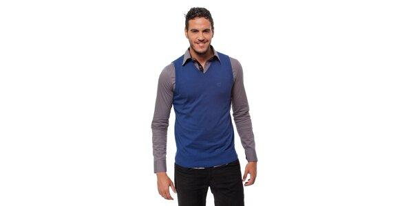 Pánska modrá pletená vesta Bendorff