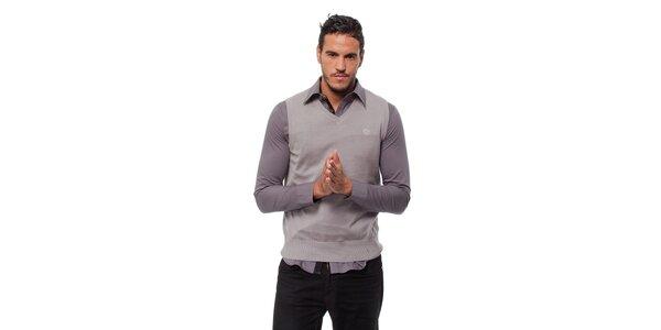 Pánska svetlo šedá pletená vesta Bendorff
