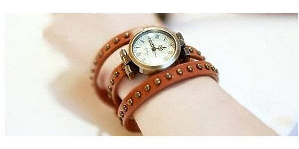 Dámske RETRO hodinky s koženým remienkom