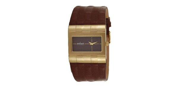 Pánske hodinky s oceľovým analogovým ciferníkom Axcent s hnedým remienkom