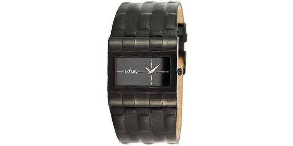 Pánske čierne hodinky s koženým remienkom Axcent