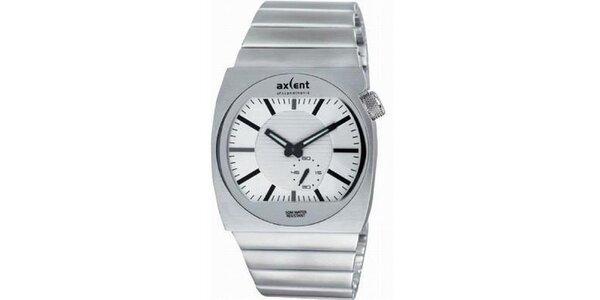 Pánske oceľové hodinky s bielym gulatým analogovým ciferníkom Axcent
