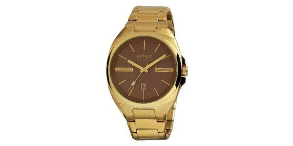 Pánske pozlátené oceľové hodinky s hnedým gulatým analogovým ciferníkom Axcent
