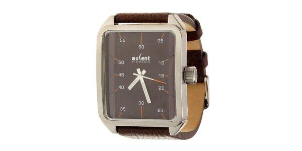 Pánske tmavo hnedé náramkové hodinky Axcent s koženým remienkom