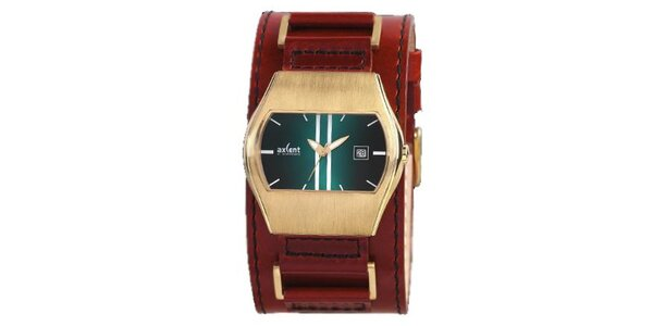 Pozlátené oceľové hodinky s hnedým koženým remienkom Axcent