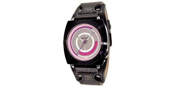 Čierne oceľové hodinky s ružovým ciferníkom Axcent