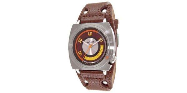 Oceľové hodinky s hnedým koženým páskom Axcent