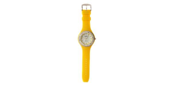 Dámske hodinky Axcent s žltým gumovým remienkom a kamienkami