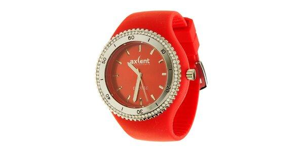 Dámske hodinky Axcent s červeným gumovým remienkom a kamienkami