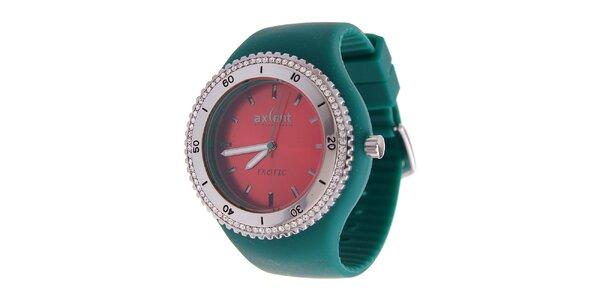 Dámske hodinky Axcent so zeleným gumovým remienkom a kamienkami
