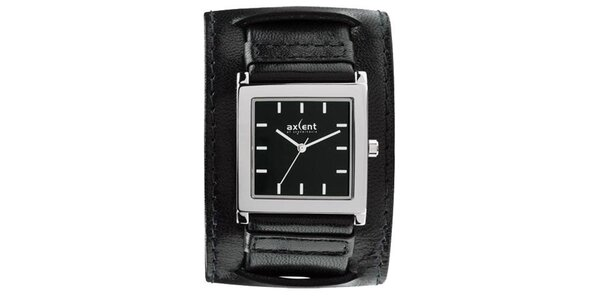 Čierne oceľové hodinky s širokým remienkom Axcent