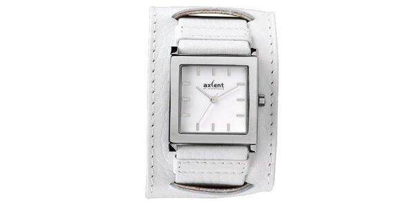 Biele oceľové hodinky s širokým remienkom Axcent