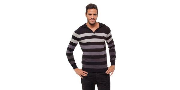 Pánsky šedo-čierny prúžkovaný sveter Bendorff s kapucou