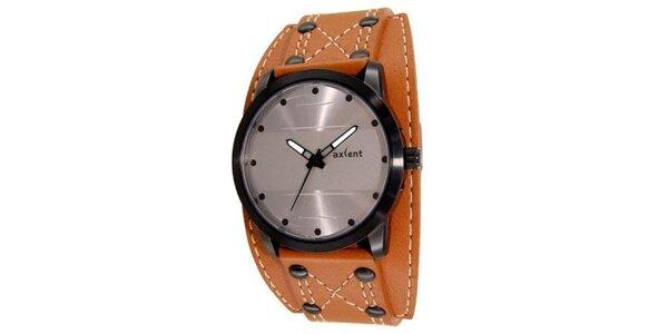 Gulaté oceľové analogové hodinky s oranžovým páskom Axcent
