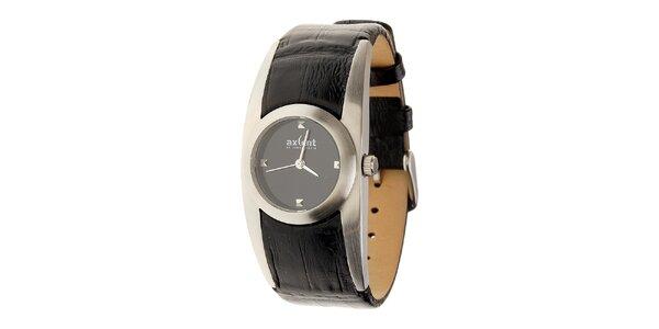 Dámske oceľové hodinky Axcent s čiernym koženým remienkom