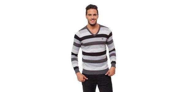Pánsky šedo-čierny prúžkovaný sveter Bendorff