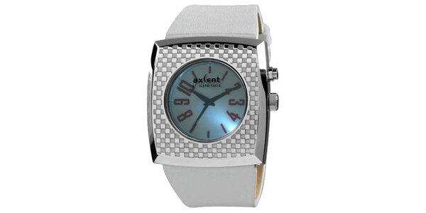 Strieborné hranaté analogové hodinky Axcent s podsvietením