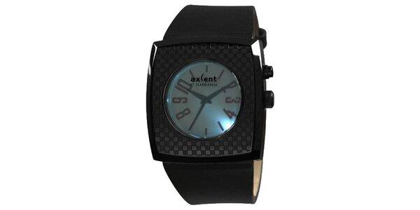 Čierne hranaté analogové hodinky Axcent s podsvietením
