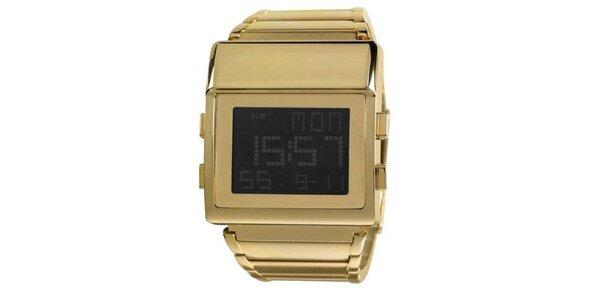 Hranaté digitálne hodinky Axcent z pozlátenej ocele