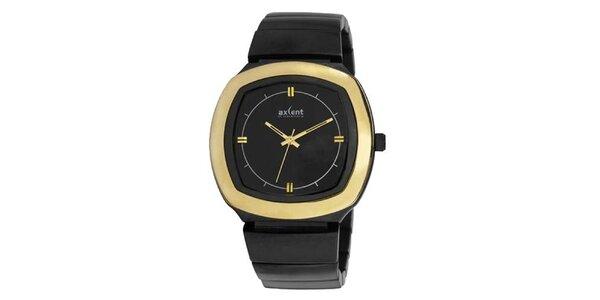 Zlato-čierne analogové hodinky Axcent