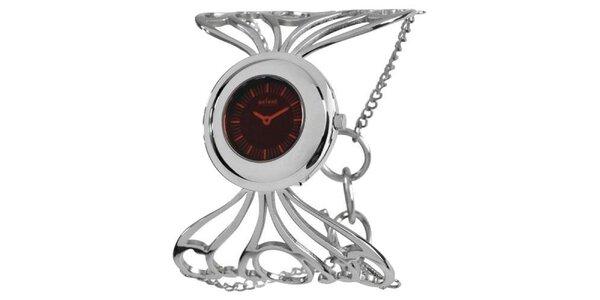 Dámske strieborné hodinky s červeným ciferníkom Axcent