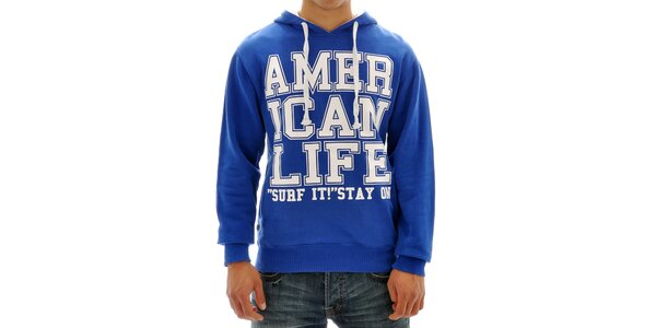 Pánska modrá mikina s nápisom American Life