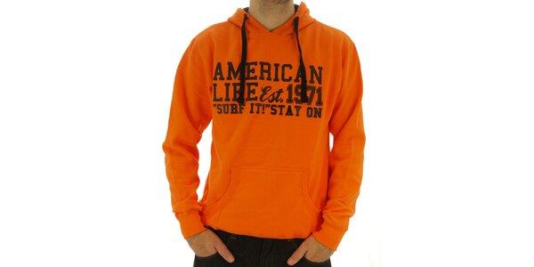 Pánska oranžová mikina s nápisom American Life