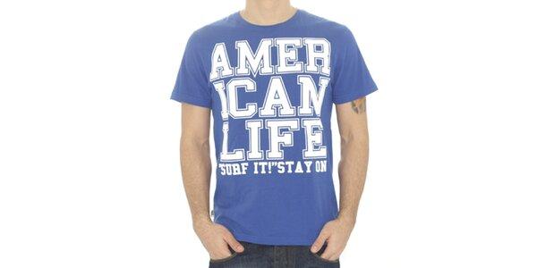 Pánske modré tričko s nápisom American Life